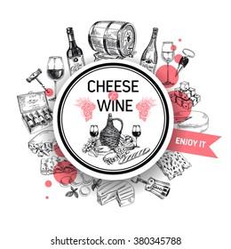 Wine vector/Wine background/Wine card/Red Wine/white wine/wine sketch/Wine illustration/Wine and Cheese card/Wine bottle/Cheese and wine set/vintage menu card/Winery illustration/Template design