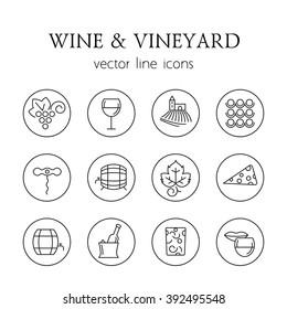Wine and vineyard line icons