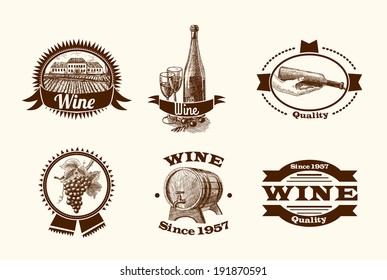 Wine vintage sketch decorative hand drawn labels set of barrel grape branch winery isolated vector illustration