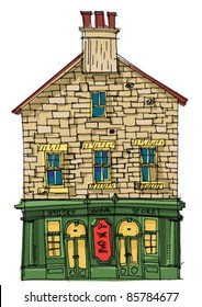 A wine and whiskey store - pub - old house.  An old house with showcase at the ground floor.Cartoon. Caricature.