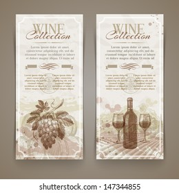 Wine and winemaking - vector grunge vintage banners with hand drawn elements