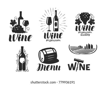 Wine, winery logo. Drink, alcoholic beverage symbol or icon. Lettering vector illustration