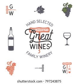 Wine, winery logo and icons, elements. Drink, alcoholic beverage symbol, monogram. Bottle, glass, grape, leaf. Great wines lettering. Stock vector illustration isolated on white background.
