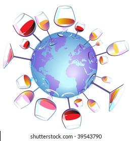 Wine World concept. Vector illustration.