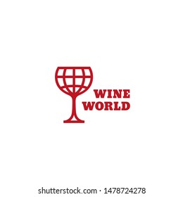 Wine world logo design template in linear style. Vector illustration.