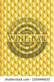Wine-bar gold emblem. Scales pattern. Vector Illustration. Detailed.