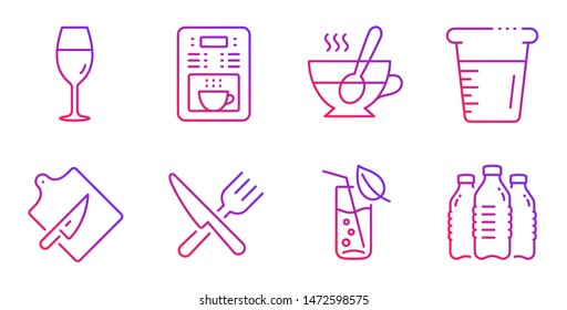 Wineglass, Coffee maker and Cutting board line icons set. Tea cup, Food and Water glass signs. Cooking beaker, Water bottles symbols. Burgundy glass, Tea machine. Food and drink set. Vector