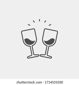 Wineglass flat vector icon. Drink flat vector icon
