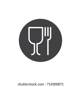 Wineglass and fork icon vector, filled flat sign, solid pictogram isolated on white. Food symbol, logo illustration. Pixel perfect vector graphics