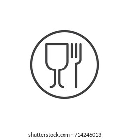 Wineglass and fork line icon, outline vector sign, linear style pictogram isolated on white. Food symbol, logo illustration. Editable stroke. Pixel perfect vector graphics