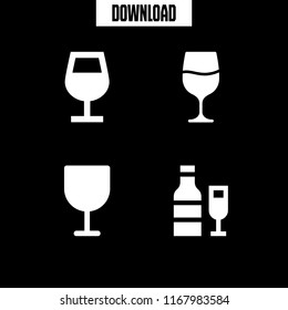 wineglass icon. 4 wineglass vector set. wine glass and wine icons for web and design about wineglass theme