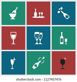 Wineglass icon. collection of 9 wineglass filled icons such as clean wine glass, champagne. editable wineglass icons for web and mobile.
