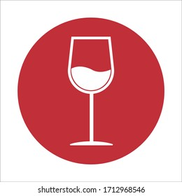 The wineglass icon. Flat Vector illustration