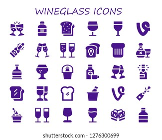 wineglass icon set. 30 filled wineglass icons. Simple modern icons about  - Toast, Wine bottle, Wine glass, Champagne, Vine, Rum, Brandy, Wine