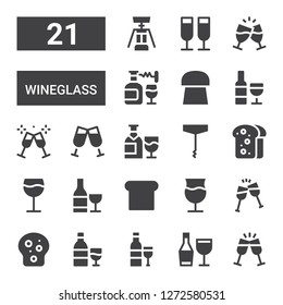 wineglass icon set. Collection of 21 filled wineglass icons included Toast, Wine, Corkscrew, Cork
