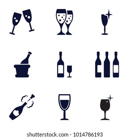 Wineglass icons. set of 9 editable filled wineglass icons such as clean wine glass, glasses clink, wine glass, champagne