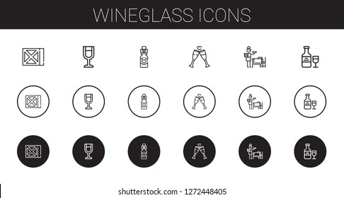 wineglass icons set. Collection of wineglass with wine, wine glass, wine bottle, toast, setting the table. Editable and scalable wineglass icons.