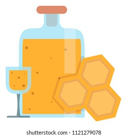 Wineglass with mead,sweet alcoholic drink made from honey,vector image, flat design