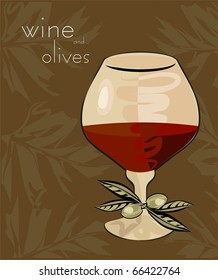 Wineglass and olives in retrostyle to place your art or text