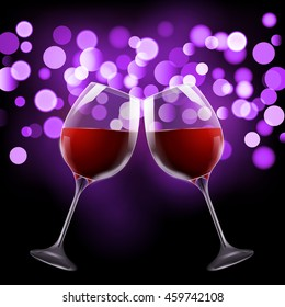 Wineglass on blurred bokeh background. Romantic wine design template.