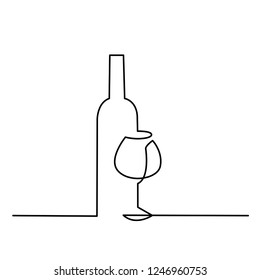 Wineglass outline vector icon. Continuous one line drawn a bottle of wine and a glass. Linear style sign for mobile concept and web design. Symbol, logo illustration.