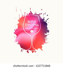 Wineglass promotion banner for wine tasting event, restaurant menu, winery vector illustration. Brochure, poster, invitation card design