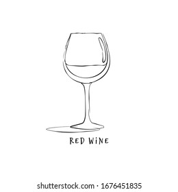 Wineglass red wine. Drink element. Black white. Retro glass wine hand draw, design for any purposes. Restaurant illustration. Simple sketch. Isolated on white background in engraving style. Vector.