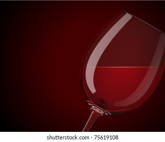 Wineglass with red wine vector background. Eps 10.