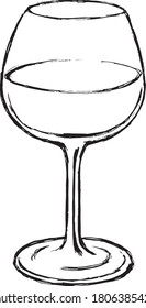 Wineglass with wine cartoon drawing  ink illustration