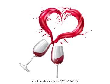 91cc5f7b7f2 Wineglasses toasting with heart shape splash. Valentines day holiday  romantic concept. Elegant dating invitation