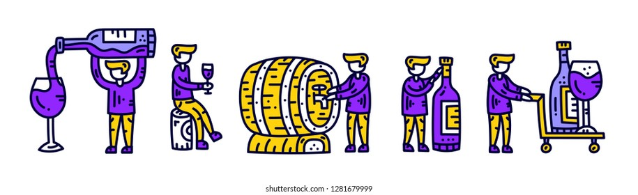 Winemaker character set. Man with wine bottle, wineglass, barrel. Wine shop concept. Hand drawn vector illustration