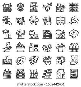 Winemaker icons set. Outline set of winemaker vector icons for web design isolated on white background