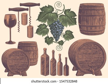 Winemaking. Design set. Hand drawn engraving. Editable vector vintage illustration. Isolated on light background. 8 EPS
