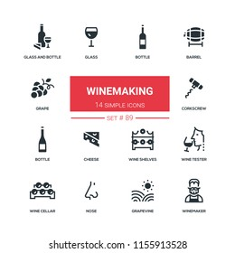 Winemaking - flat design style icons set. High quality black solid pictograms. Bottle and glass, barrel, grape, corkscrew, cheese, wine shelves, tester, cellar, nose grapevine winemaker