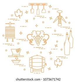 Winemaking: the production and storage of wine. Culture of drinking wine. Design for announcement, advertisement, print.