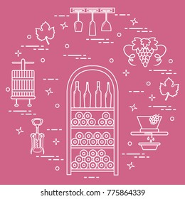Winemaking the production and storage of wine. Culture of drinking wine. Design for  sc 1 st  Shutterstock & Red Wine Bottle Open Stock Illustrations Images u0026 Vectors ...