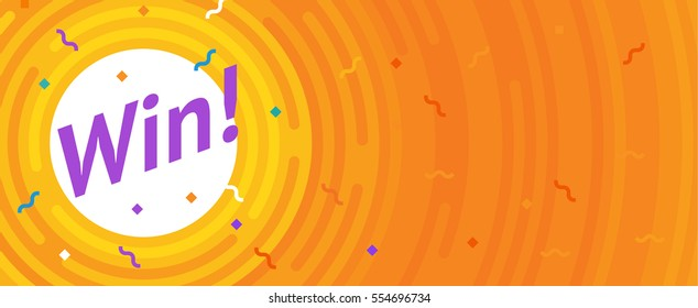 Winer sign. Congratulations win banner. Flat vector winner illustration. Victory header with lines, rounded corners. Hipster winning card. Success design. Vector conquest illustration. The first place