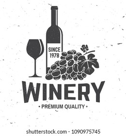 Winery badge, sign or label. Vector illustration. Vintage design for winery company, shop, bar, pub, branding and restaurant business. Coaster for wine glasses