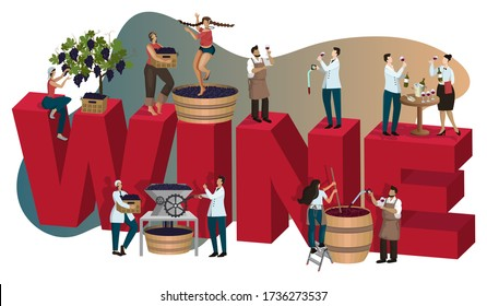 Winery concept with tiny people making and tasting wine. Vino at different stages of production: grape harvesting crushing, fermentation, aging, degustation. Poster, banner, cover. Cartoon flat vector