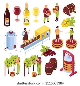 Winery isometric set vineyard with harvest pressing of grapes bottling conveyor drink in goblets isolated vector illustration