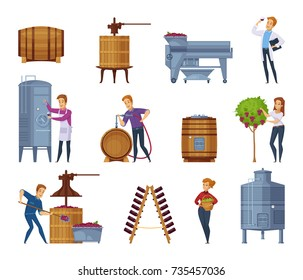 Winery production process cartoon icons set with grape harvesting crushing pressing fermenting wine aging isolated vector illustration