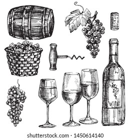 The winery retro set with grape, wood barrel, basket, wine bottle and wineglasses. Black and white hand drawn doodle line art. Vintage stock vector illustration isolated on white background.