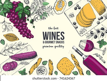 Wines and gourmet snacks frame vector illustration. Cheese, sausages, bread, foie Gras, grape hand drawn. Gourmet food set. Colored design template.