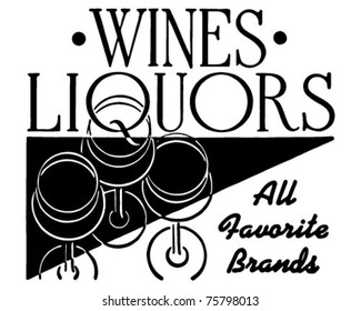 Wines Liquors - Retro Ad Art Banner