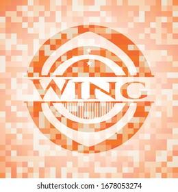 Wing abstract orange mosaic emblem