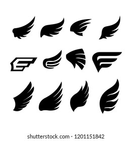 wing abstract set vector on white background
