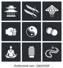 Wing Chun icons: temple, dojo, butterfly knives, straw hat, Chinese, teacher, master, fist, kick, yin-yang, meditation, lotus posture, makiwara, rosary, Buddhism. Vector Illustration.