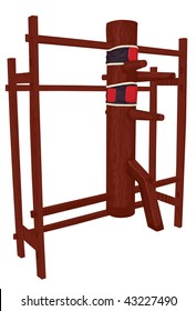 Wing Chun / Tsun wooden dummy training equipment. Front frame section, main body, arms/leg, back frame and punching targets are all on separate layers. Easily remove punching targets if wanted