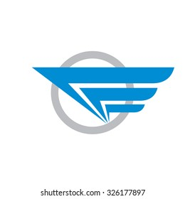Wing in circle - vector logo template concept illustration. Abstract transport sign. Travel icon. Design element.