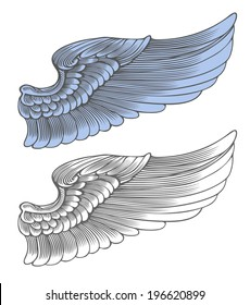 Wing in engraving style.  Vector illustration, isolated, grouped, transparent background
